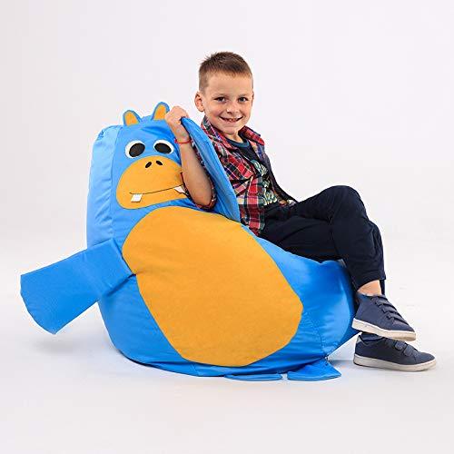 Puff para niños - Silla Suave Puff - Muebles Rellenos de Espuma rellena - Ligero Lavable - 110x80 - 420 Liter (Medium, Hippo)