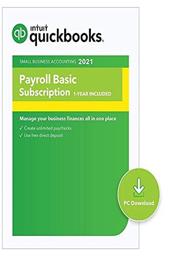 QuickBooks: Desktop Basic Payroll 2021 I Compatible with QuickBooks Pro, Premier, and Enterprise [PC Download code]
