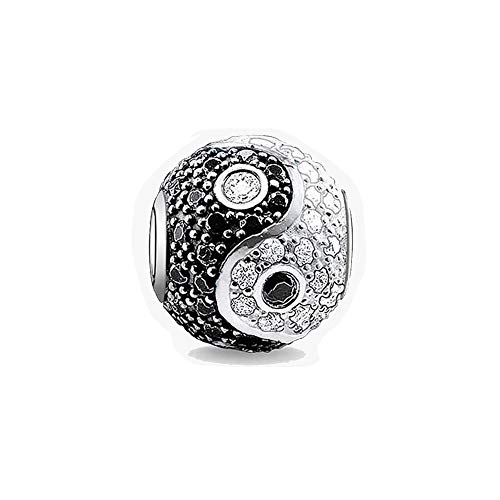 EVESCITY Swarovski Crystallized Black White Yin Yang Balance Silver Bead For Charms Bracelets - Best Jewelry Gifts for Her