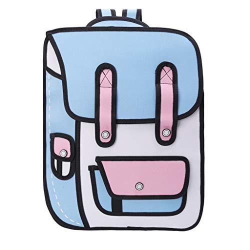 3D-Spring-Stil, 2D-Zeichnung aus Cartoon-Papier-Rucksack, Umhängetasche, Comic-Büchertasche.