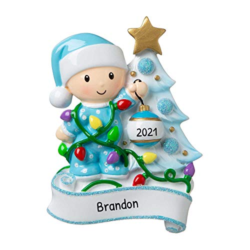 Personalized Baby Decorating a Tree Light Blue Christmas Ornament 2019 - Boy Santa Hat Garnish Glitter Bauble Tangle God New Mom Shower Holiday Grand-Son Tradition Nursery - Free Customization