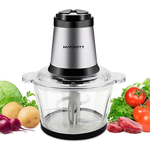 Electric Food Chopper Meat Grinders, Maypott 500W 8-Cup Food Processor, 2L BPA-Free Glass Bowl Blender Grinder for Meat, Vegetables, Fruits and Nuts, Fast & Slow 2-Speed, 4 Sharp Blades