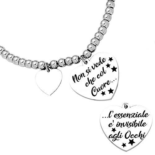 Beloved Bracciale da donna, braccialetto in acciaio emozionale - frasi, pensieri, parole con charms - ciondolo pendente - misura regolabile - incisione - argento (BL2)
