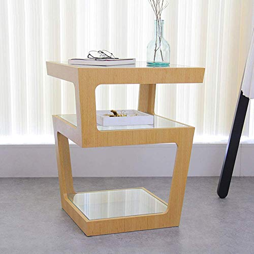 Carl Artbay Home&Selected Furniture / 3-laags ruimte bijzettafel/salontafel/bijzettafel/lamp tafel/sofa bijzettafel, hout + glas, 43x43x53 cm (kleur: B)