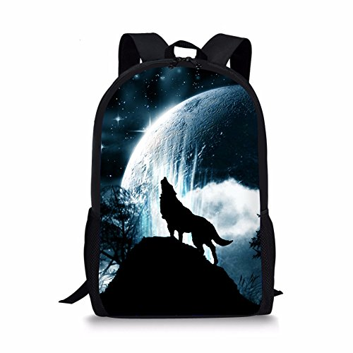 POLERO Moon Wolf 3D Adult Children Outdoor Leisure Sports Backpack and School Backpack