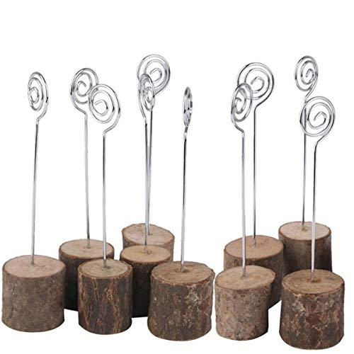 K.MAX Wooden Base Place Card Holders, Rustic Iron Wire Picture Picks Clip Holder Stand, Ideal for Party Name Number Photo, Wedding Table Home Decorations (10pcs)