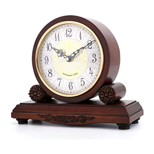 CAO-Decor Mantel Relojes, clásico Tabla del Escritorio del Manto del Reloj, de Madera de pie Antiguo Ornamento de Cuarzo analógico Reloj Relojes tictac Plataforma Regalo no, 28.5 * 24.3cm