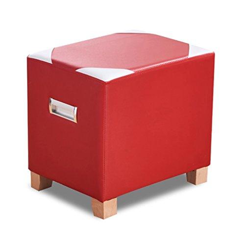 Poufs et repose-pieds Tabouret rembourré tabouret chaussures en bois Osman futon chaise tabouret trois couleurs (Couleur : Red)