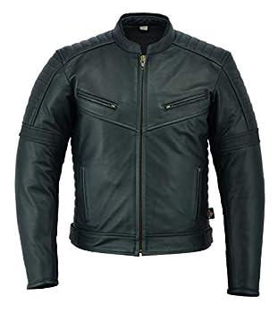 Texpeed - Veste de moto classique - homme - cuir pleine fleur - noir - nombreuses tailles