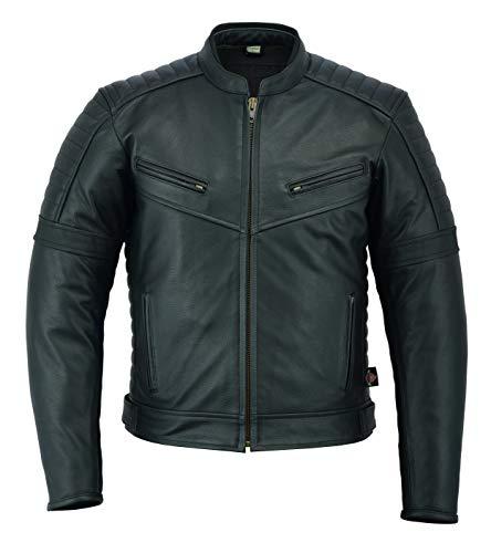 Texpeed - Herren Motorrad-Tourenjacke - klassisch - aus hochwertigem Spaltleder - Schwarz - alle Größen