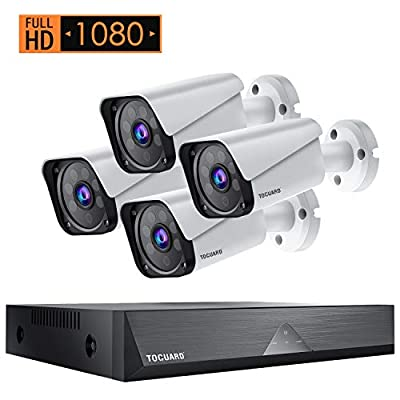 TOGUARD Home Security Camera System 4pcs 1080P Cameras 8CH DVR Outdoor Waterproof Wired CCTV Surveillance Cameras with IR Night Vision, Motion Alert, Remote Access, 7x24 REC, No Hard Drive