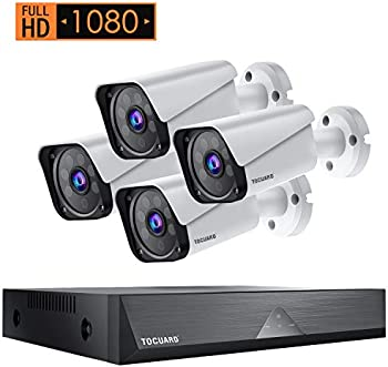 Toguard 8CH 1080P Waterproof Wired Security Camera System (4-Cameras)