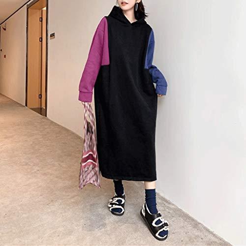 ZNBJJWCP Vestido de invierno para mujer, otoño, manga larga, con capucha, estilo casual, suelto, patchwork y sudaderas con capucha (color: C, tamaño: grande)