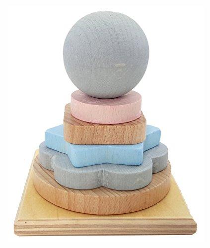 Hess 14954 Houten speelgoed, stapeltoren van hout, natuur