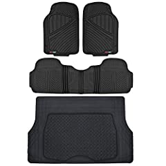 Built for Protection – Guard Against any Spills, Dirt, and All-Weather Conditions; Full Protection - Set of 2 Front Mats, 1 Rear Liner, 1 Cargo Mat for Full Coverage; 4 Mats TOTAL Eco-Tech Products - Made from , Odorless EVA Rubber, and Approved by S...