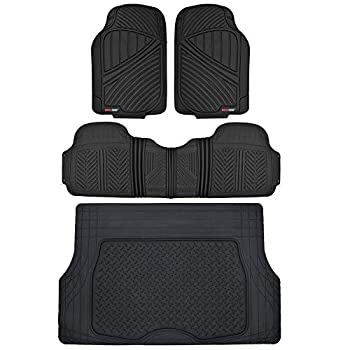 Motor Trend FlexTough Performance All Weather Rubber Car Floor Mats with Cargo Liner – Full Set Front & Rear Odorless Floor Mats for Cars Truck SUV BPA-Free Automotive Floor Mats  Black