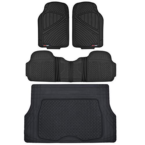Motor Trend FlexTough Performance All Weather Rubber Car Floor Mats with Cargo Liner – Full Set Front & Rear Odorless Floor Mats for Cars Truck SUV, BPA-Free Automotive Floor Mats (Black)