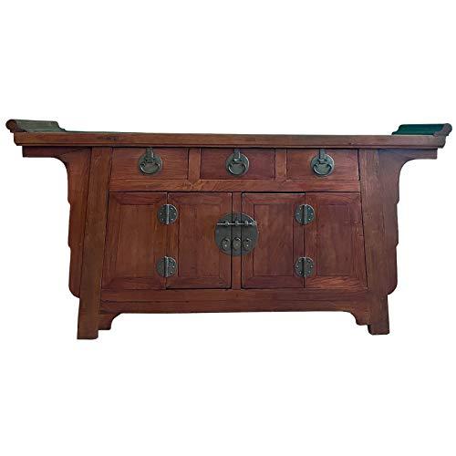 Asien Lifestyle Dynamic24 - Aparador chino (madera de olmen, 170 cm), color marrón