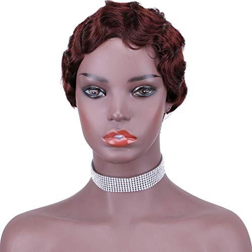 Mommy Wig Short Finger Wave Curly Wigs for Black Women Brazilian Human Hair Pixie Cut Wigs Short Finger Wavy Wig Mommy Light Wine Red Wig Short Pixie Curly Wigs Nuna Wigs For Women Water Wave (99J#)