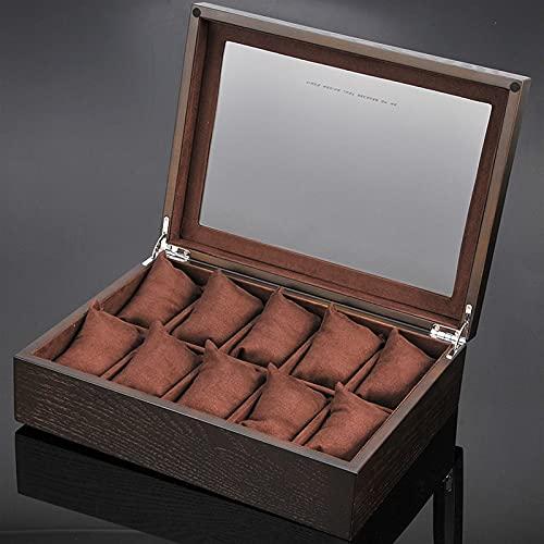 WZX Caja de Almacenamiento de Reloj de 10 Ranuras, Vitrina, colección de Relojes de Pulsera de joyería de Madera para el hogar(Color:B)