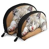 XCNGG Bolsa de almacenamiento Lindo gato durmiendo gráfico portátil viaje maquillaje bolso impermeable organizador de artículos de tocador bolsas de almacenamiento