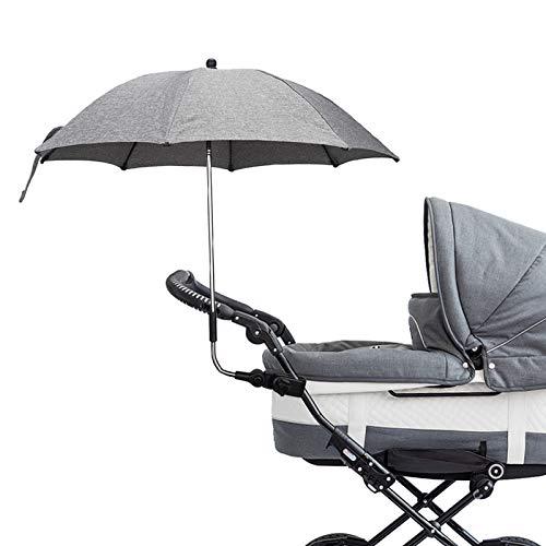 Baby Clamp-On Shade Schutzschirm mit Regenschirmclip Befestigungsvorrichtung Ideal für Kinderwagen Waggons Rollstühle oder Golfwagen, 45x70cm