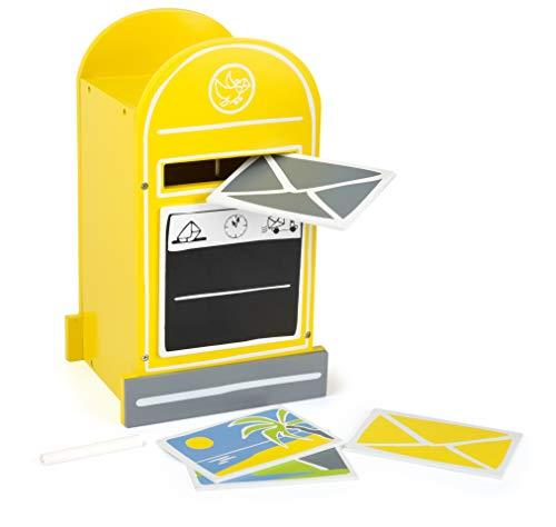 small foot 11188 Briefkasten aus Holz, inkl. Postkarten, die mit Kreide beschriftet werden können, ab 3 Jahren