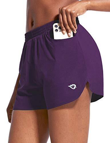 BALEAF Damen Laufshorts Trainingsshorts Kurz Sporthose mit Eingrifftasche für Running Freizeit Fitness Lila XL