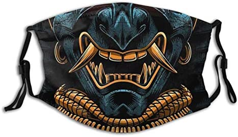 Awesome Samurai Oni Gold Face Mask Unisex Balaclava Mouth Cover With Filter Windproof Dustproof product image
