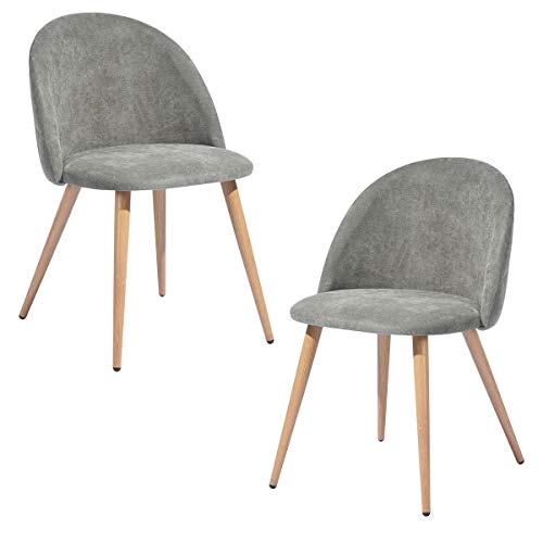 HOMYCASA UKFR - Juego de 2 sillas de comedor con respaldo y asiento de tela de rizo con patas de metal de roble para comedor y sala de estar