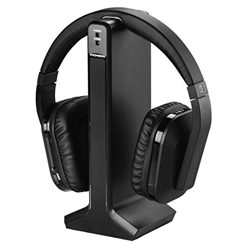 Thomson Digitaler Over-Ear Funk-Kopfhörer (z.B. für TV/HiFi/Smartphone/Tablet/PC/Laptop, mit Ladestation, kabellose Reichweite 20m) Wireless Stereo Headphones, Fernseh-Kopfhörer schwarz