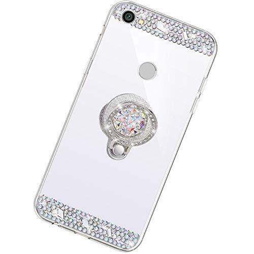 Funda Compatible con Xiaomi Redmi Note 5A.Espejo Glitter Diamante Anillo Soporte Brillo TPU Transparente Silicona Suave Carcasa Cover Mirror Bling Moda Ultrafino Protective Bumper Case,Plata