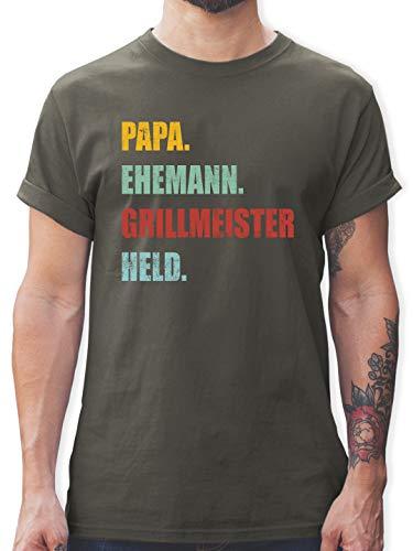 Vatertagsgeschenk - Papa Ehemann Grillmeister Held Retro Vintage Effekt - XL - Dunkelgrau - Tshirt Mann Papa Grillmeister held - L190 - Tshirt Herren und Männer T-Shirts