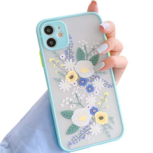 Ownest Kompatibel mit iPhone 11 Hülle,Blume Transparent Matte PC Back 3D Floral & Mädchen Frau Weich Silikon Bumper Schutzhülle Hülle für iPhone 11-Blau