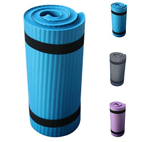 Esterilla de yoga, antideslizante, gruesa, para ejercicio, ecológica, para yoga, pilates y gimnasia, fitness, mujeres y hombres, color azul, tamaño Tamaño libre, 0.02, 12.60 x 3.94 x 3.15inches