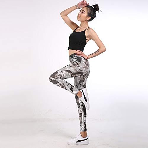 Yundongyi yogabroek voor dames, hoge taille, looptraining, naadloze legging, fitness, panty's, gym, leggings, elastische dunne print sportbroek