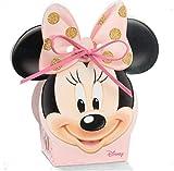 Ingrosso e Risparmio 10 Scatoline portaconfetti Disney Rosa con sagoma di Minnie e Glitter Dorati, pensierini economici Nascita, Battesimo, Compleanno Femminuccia (Senza confezionamento)
