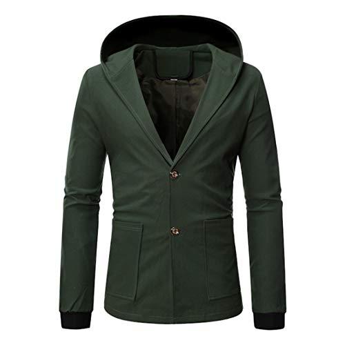 Mens Button Hoodie Sweatshirt Lightweight Coat Casual Long Sleeve Hooded...