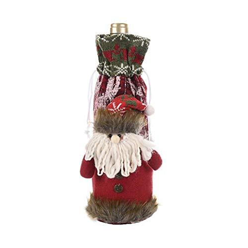 HBWHY Bolsas de botella de vino de Navidad con encantadores tapas de botella de vino tinto decoración de Navidad decoración de mesa adornos para el hogar fiesta accesorios