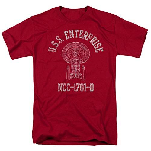 Popfunk Star Trek USS Enterprise Distressed Retro T Shirt & Stickers (Medium) Cardinal