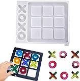JOERRES Moldes de resina de juego de mesa Tic Tac Toe, moldes de moldeado de resina epoxi de silicona para bricolaje, juego de mesa para adultos para niños, decoración del hogar, 25 x 21,3 cm