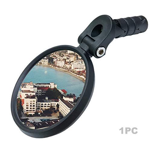 Bar End Bike Mirror [Upgraded Version] Scratch Resistant Glass Lens,HD,Safe Rearview Mirror (Sliver) ME-001S