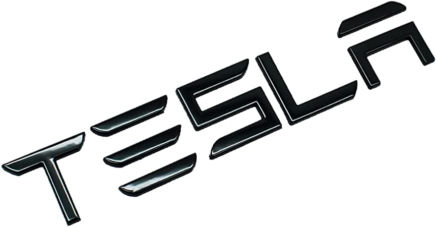 GLAAPER 3D Raised Tailgate Insert Letters Rear Emblems, Plastic Inserts with 3M Adhesive Backing Replacement for TES la Model 3/S/X Series(Gloss Black)