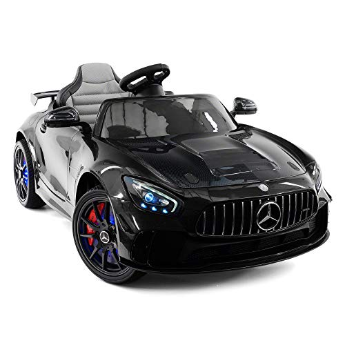 Moderno Kids Mercedes GT 12V Power Children Ride-On Car with R/C Parental Remote + EVA Rubber LED Wheels + Leather Seat + MP4+MP3 Video/Music Player + LED Lights + Rubber Floor Mats (Black)