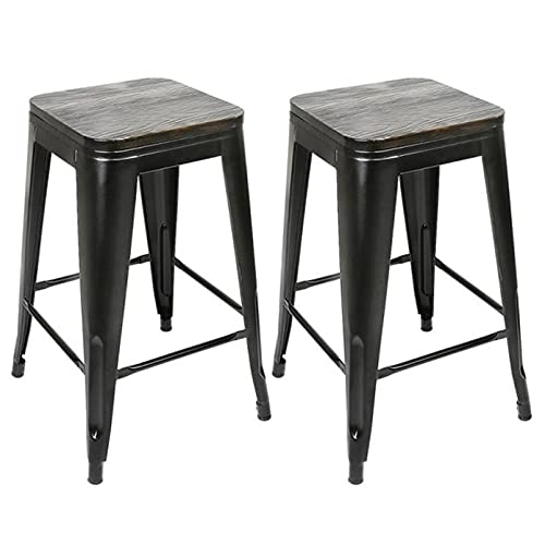 2Pcs/set Iron Art Bar Chairs Bar High Stools Height Chairs Synthetic Footrest No Armrests Home Office Kitchen Furniture (Color : Black A)