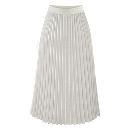 BHYDRY Frauen Solide Plissee Elegant Midi Elastischer Taillen Maxi Rock(Large,Blanc)