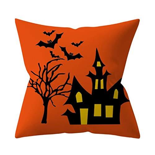 Clyine Einfacher Trend Castle Print Halloween Kissenbezug für Halloween Home Car Schlafsofa dekorativ,Schwarzes Schloss