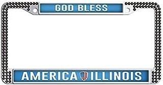 FramePro God Bless America Illinois License Plate Frame Black Rhinestones Car License Plate Holder