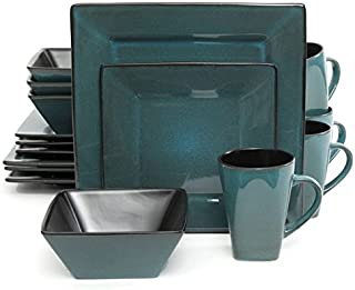 Kiesling Square Teal Blue 16-Piece Dinnerware Set - Gibson Elite