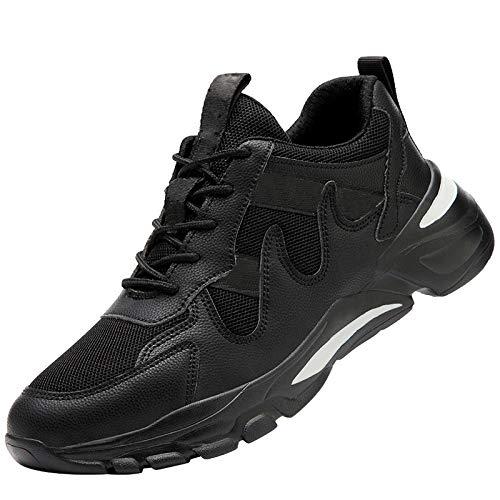 HMAKGG Zapatillas de Seguridad Hombres Verano Deportivas con Punta de Acero Cerradas Transpirable Zapatos de Trabajo Antideslizante Industria Construcción,Negro,40 EU